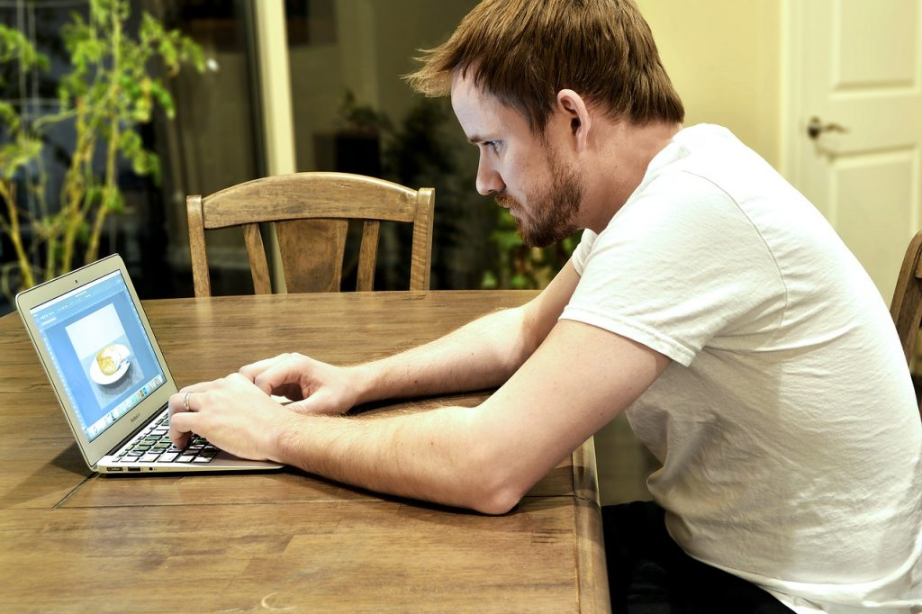 adult, computer, laptop