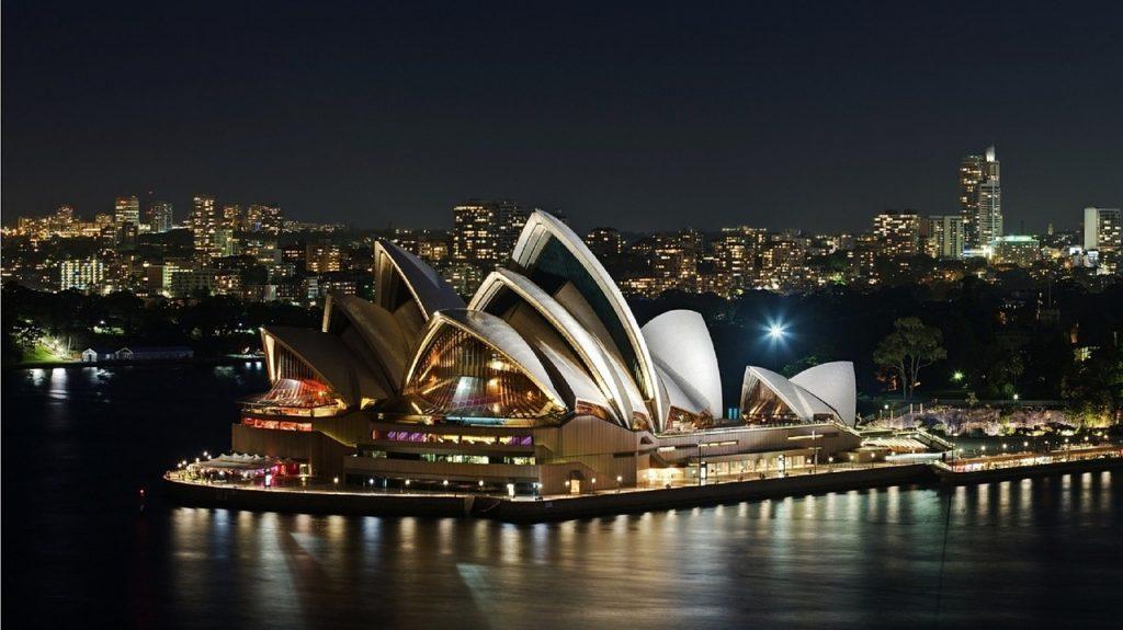 sydney opera house, night, harbor